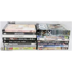BOX OF ABOUT 25 DVD'S INCLUDING JERSEY SHORE