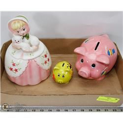 LOT OF JAPAN MADE COOKIE JAR AND 2 PIGGY BANKS