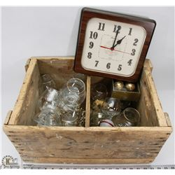 OLD WOODEN CRATE FILLED WITH 24K GOLD TRIM INCL