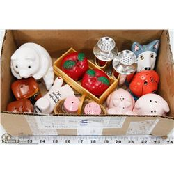 COLLECTION OF SALT  PEPPER SHAKERS.