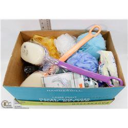 #4) BOX OF BATHROOM ACCESSORIES