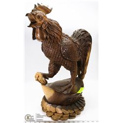 """WOOD CARVED ROOSTER STATUE 24"""" H"""