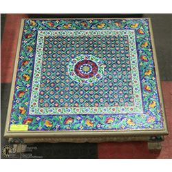 """INDIA FLORAL MOSAIC FLOOR TABLE 24""""X24""""X7""""H"""