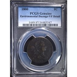 1800 LARGE CENT, PCGS VF A LITTLE DARK BUT NICE!