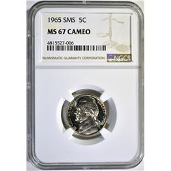 1965 SMS JEFFERSON NICKEL, NGC MS-67 CAMEO