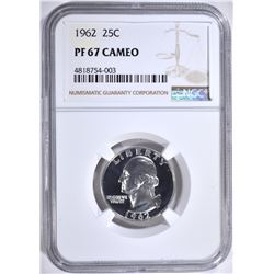 1962 WASHINGTON QTR NGC PF67CAMEO