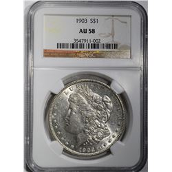 1903 MORGAN DOLLAR, NGC AU-58
