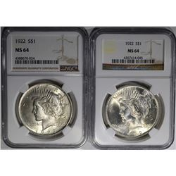 2 - 1922 PEACE DOLLARS NGC MS64