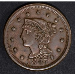 1847 LARGE CENT, AU N-27 SCARCE VARIETY
