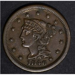 1846 LARGE CENT, XF/AU