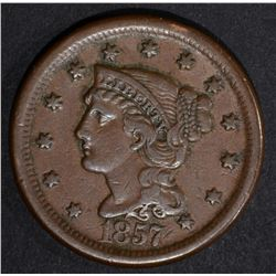 1857 LARGE CENT, XF