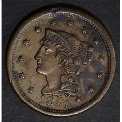 1851 LARGE CENT. XF/AU stained