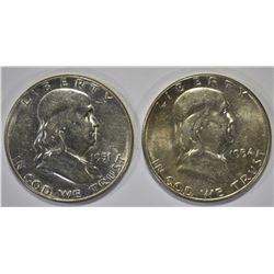 1951-S & 1954-S CH BU FRANKLIN HALVES