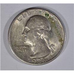 1936-D WASHINGTON QUARTER, AU KEY DATE