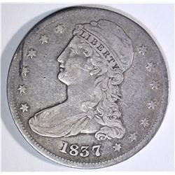 1837 REEDED EDGE BUST HALF DOLLAR, F/VF