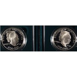 (2) 1990-P Eisenhower Proof Silver Dollars