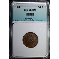 1832 HALF CENT, EMGC GEM BU BR