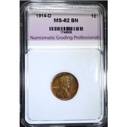 1914-D LINCOLN CENT, NGP UNC BR