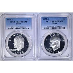2 - 1972 S SILVER IKE DOLLARS PCGS PR69
