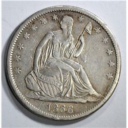 1866-S SEATED HALF DOLLAR, XF+ NICE