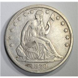 1870-S SEATED HALF DOLLAR, VF cleaned
