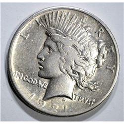 1921 PEACE DOLLAR, VF/XF