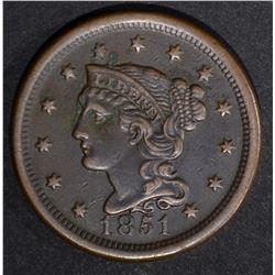 1851 LARGE CENT, AU dark