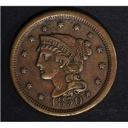 1850 LARGE CENT, XF/AU