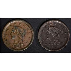 1853 XF/AU & 1854 VF LARGE CENTS