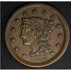 1855 UPRIGHT 5'S LARGE CENT, AU