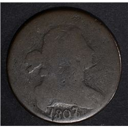 1807/6 DRAPED BUST LARGE CENT, GOOD