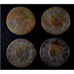 1827 AG/G, 28 GOOD, 29 GOOD & 31 VG LARGE CENTS