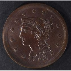 1852 LARGE CENT, CH BU CLEANING AT SOME POINT