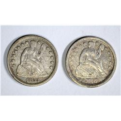 1857 & 58 SEATED DIMES, XF