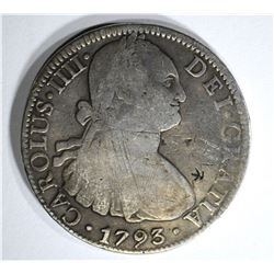 1793 MEXICO 8 REALES chopmarked