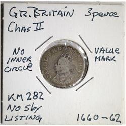 1660-62 G. BRITAIN KM-282 3-PENCE RARE!!
