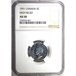 1951 CANADA NICKEL HIGH RELIEF, NGC AU-58 RARE!!!