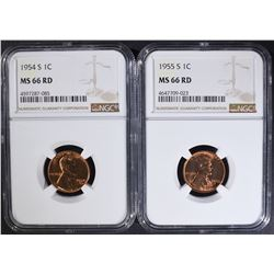 1954-S & 1955-S LINCOLN CENT NGC