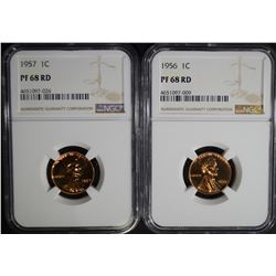 1956 & 1957 LINCOLN CENT  NGC PF68 RD