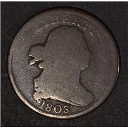 1803 DRAPED BUST HALF CENT GOOD+