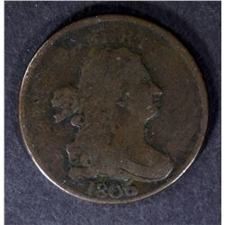 1806 DRAPED BUST HALF CENT, FINE