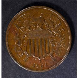 1864 TWO CENT PIECE, XF