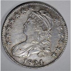 1824 CAPPED BUST HALF DOLLAR  AU/UNC
