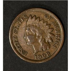1908-S INDIAN HEAD CENT, FINE+