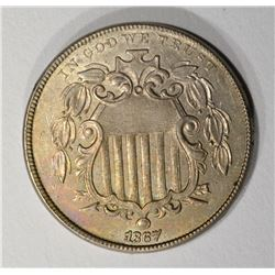1867 SHIELD NICKEL AU