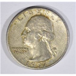 1937-D WASHINGTON QUARTER, AU