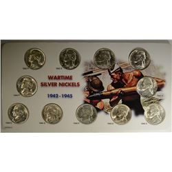 GEM BU SILVER WAR NICKEL SET IN DATED DISPLAY CARD
