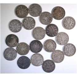 20-SILVER GERMAN 1/2 MARKS VARIOUS DATES