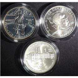 UNC COMMEM SILVER DOLLAR LOT: COINS & CAPS