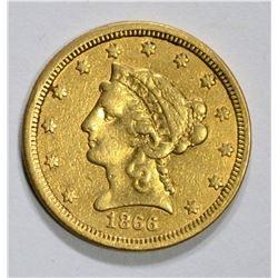 1866-S $2.50 GOLD LIBERTY, XF